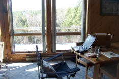 My writing space at the Mt. Flyer in Ludlow, VT