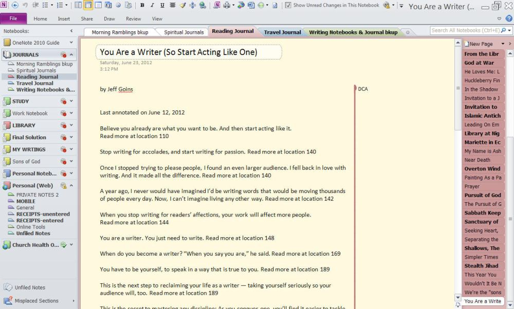 OneNote for Your Journals